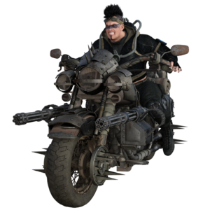 Barbarian on wasteland bike.